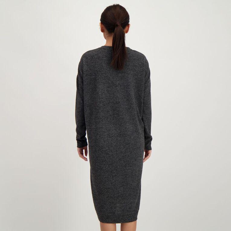 H&H Women's Brushed Knit V Neck Dress, Charcoal, hi-res