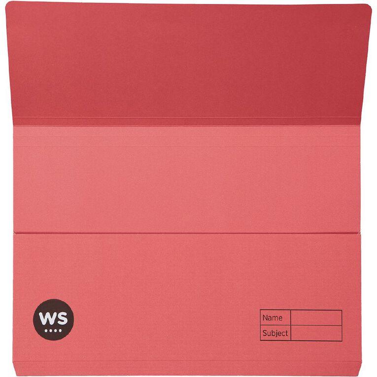 WS Manilla Document Wallet Foolscap Red, , hi-res