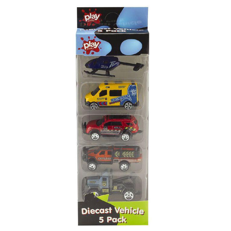 Play Studio Die-Cast Freewheel Car 5 Piece Assorted, , hi-res