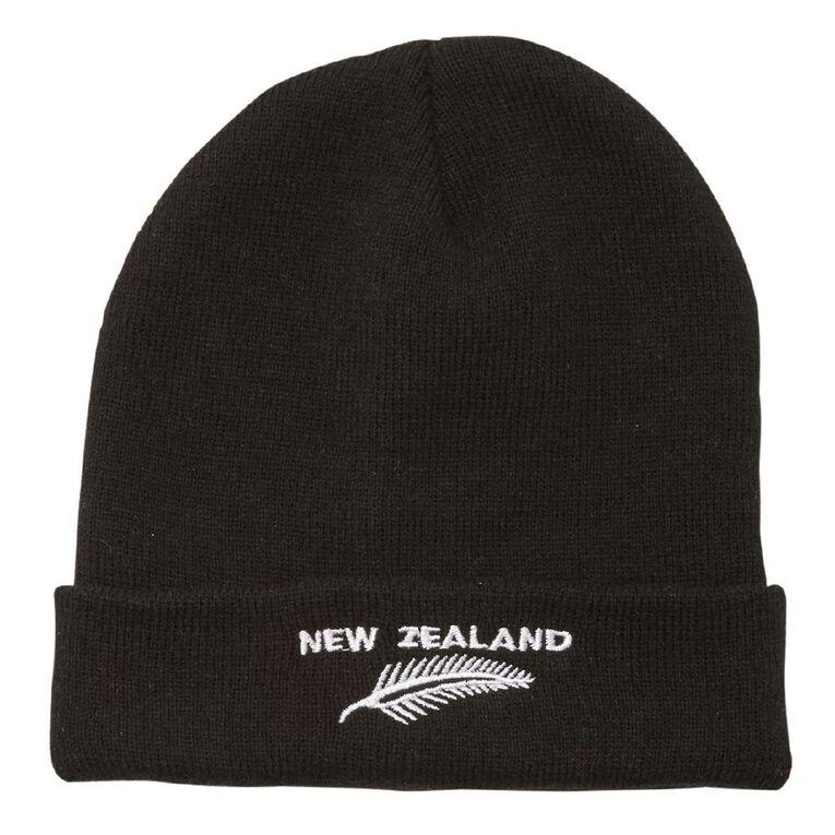 H&H Men's New Zealand Fern Beanie, Black, hi-res