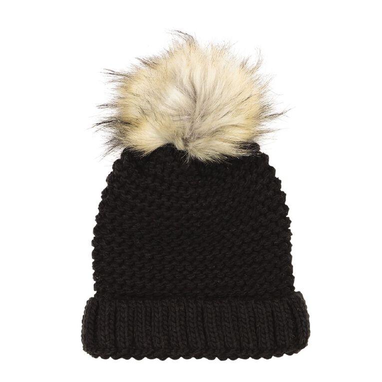H&H Stitch Knit Pom Pom Beanie, Black, hi-res