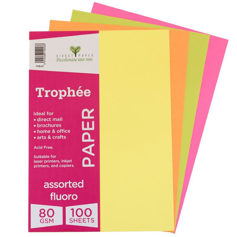 Trophee Paper 80gsm 100 Pack Fluoro Assorted A4, , hi-res