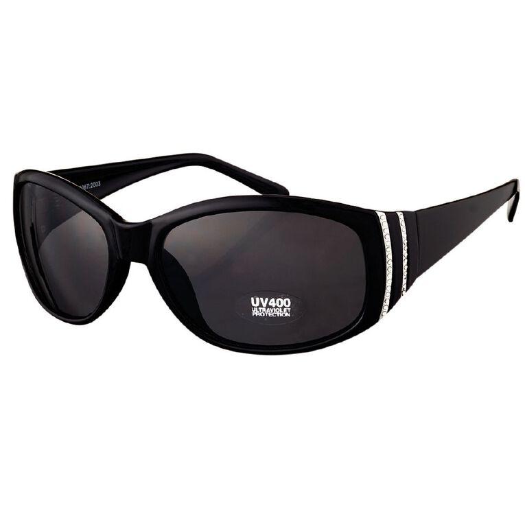 Beach Works Women's Wrap Diamante Sunglasses, Black, hi-res