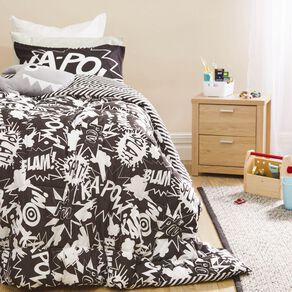Living & Co Kids Comforter Set Kapow Black/White King Single