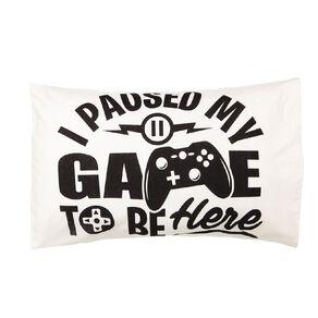 Living & Co Kids Pillowcase 180 Threadcount Gamer White 48cm x 73cm