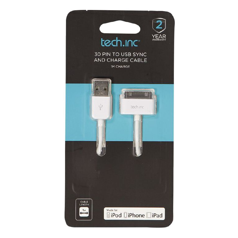 Tech.Inc 30 Pin Cable White 1m, , hi-res