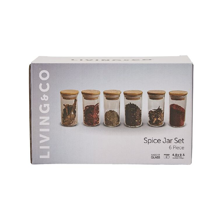 Living & Co Glass Spice Jars with Wooden Lids 6 Pack, , hi-res