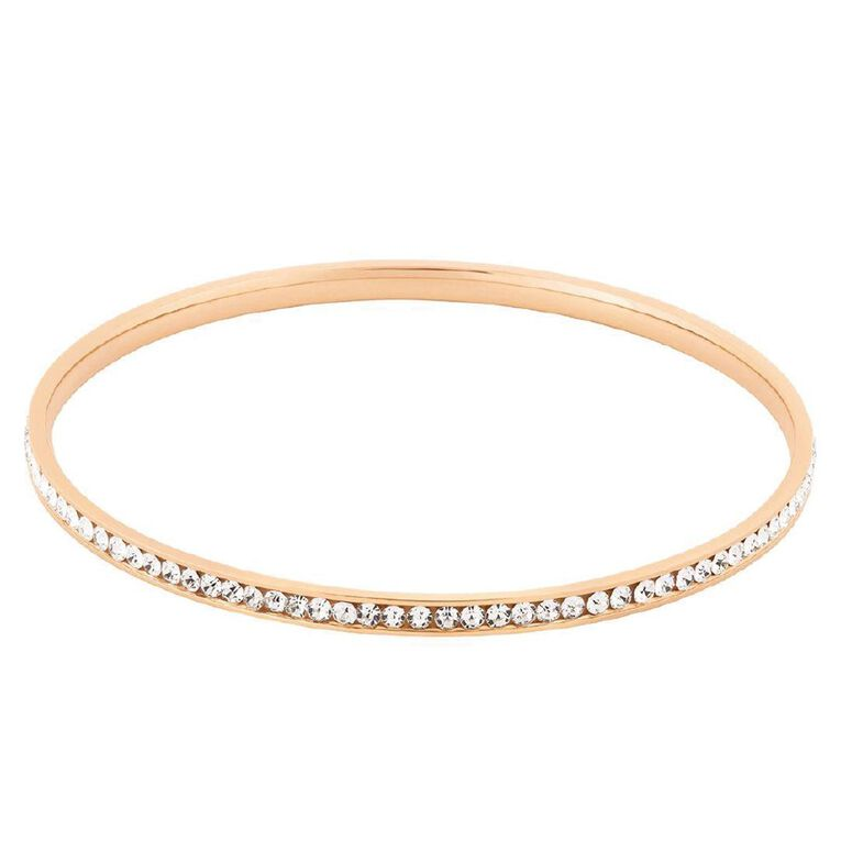 Stainless Steel Rose Gold Plated CZ Channel Bangle, Rose Gold, hi-res