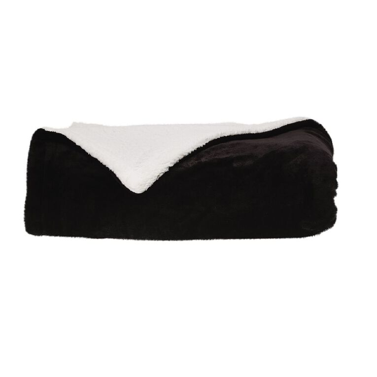 Living & Co Blanket Plush With Sherpa Reverse Black Queen, , hi-res