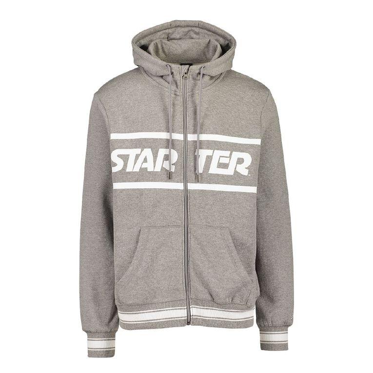 Starter Men's Zip Thru Hooded Sweatshirt, Grey Mid, hi-res