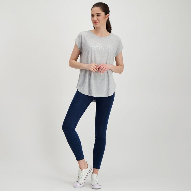 H&H Women's Print Crew Neck Tee, Grey Marle, hi-res