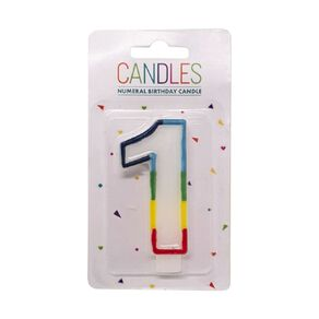 Numeral Candle 1 Rainbow Border 80mm x 10mm White