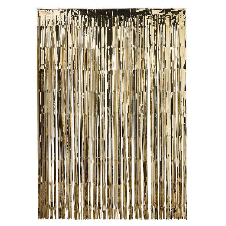 Party Inc Foil Backdrop 147cm (w) x 240 (h) Gold, , hi-res
