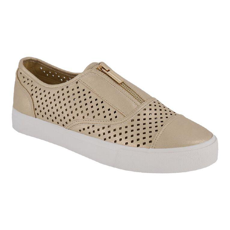 H&H Women's Liana Zip Casual Shoes, Gold, hi-res