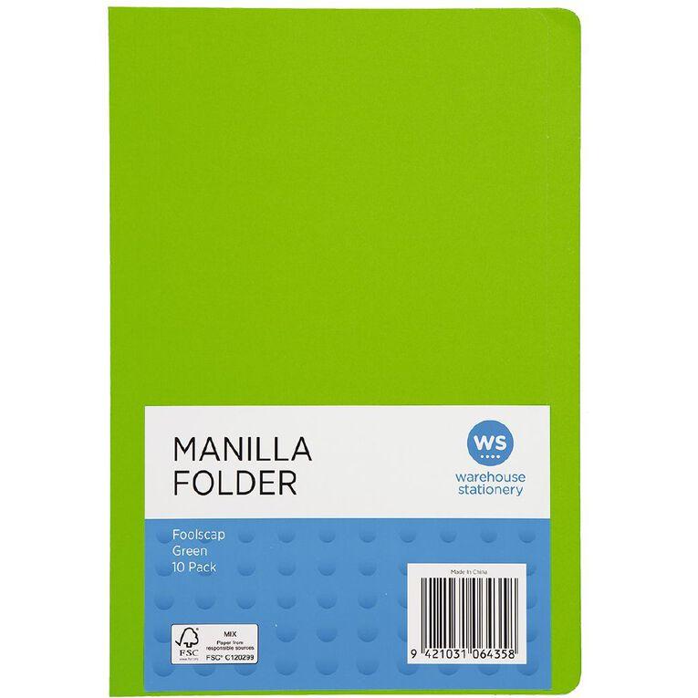 WS Manilla Folders Foolscap 10 Pack Green, , hi-res