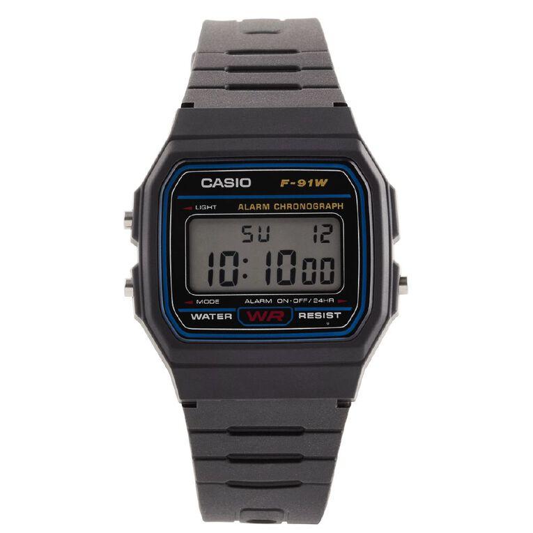 Casio Digital Watch Black F-91W-1, , hi-res