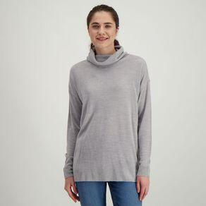 H&H Women's Long Sleeve Funnel Knit Dress