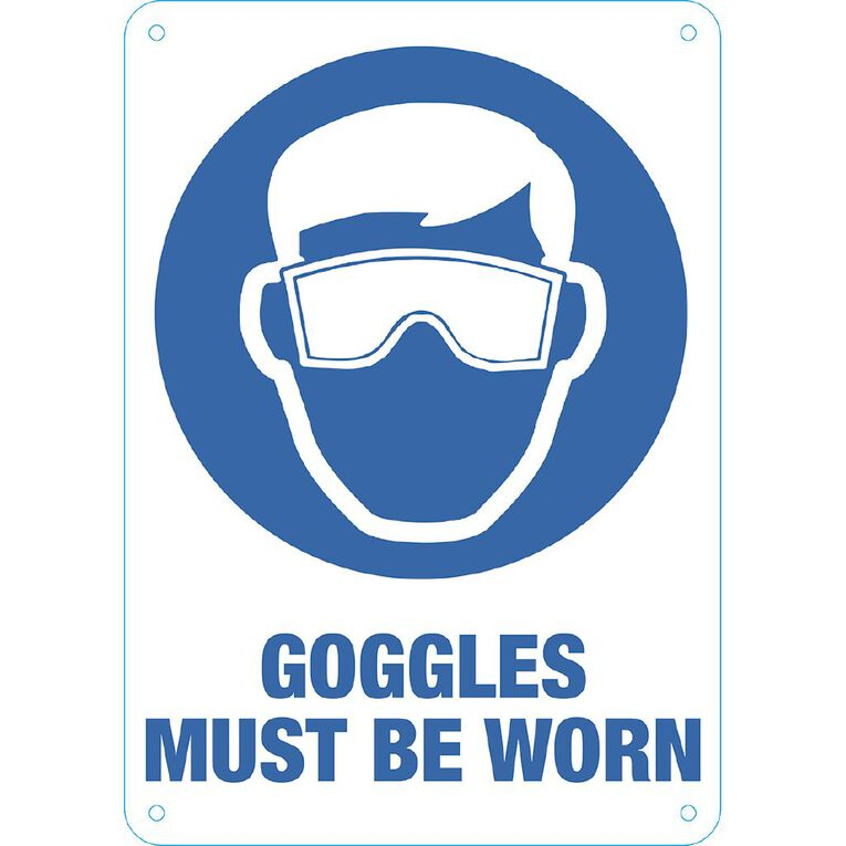WS Goggles Must be Worn Sign Small 340mm x 240mm, , hi-res