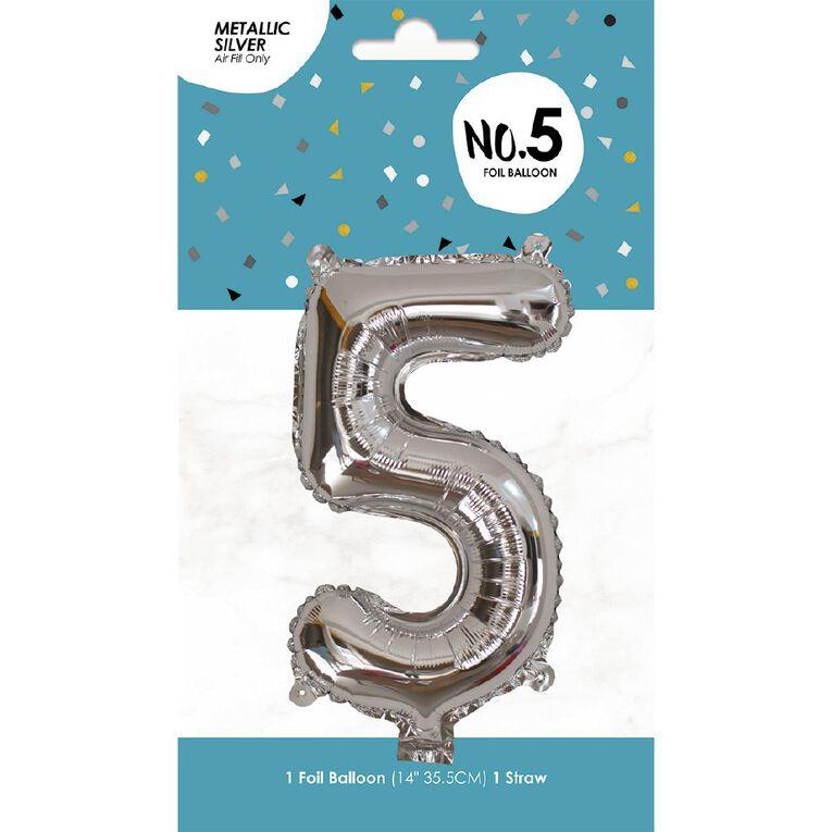 Foil Balloon #5 Silver 35cm, , hi-res