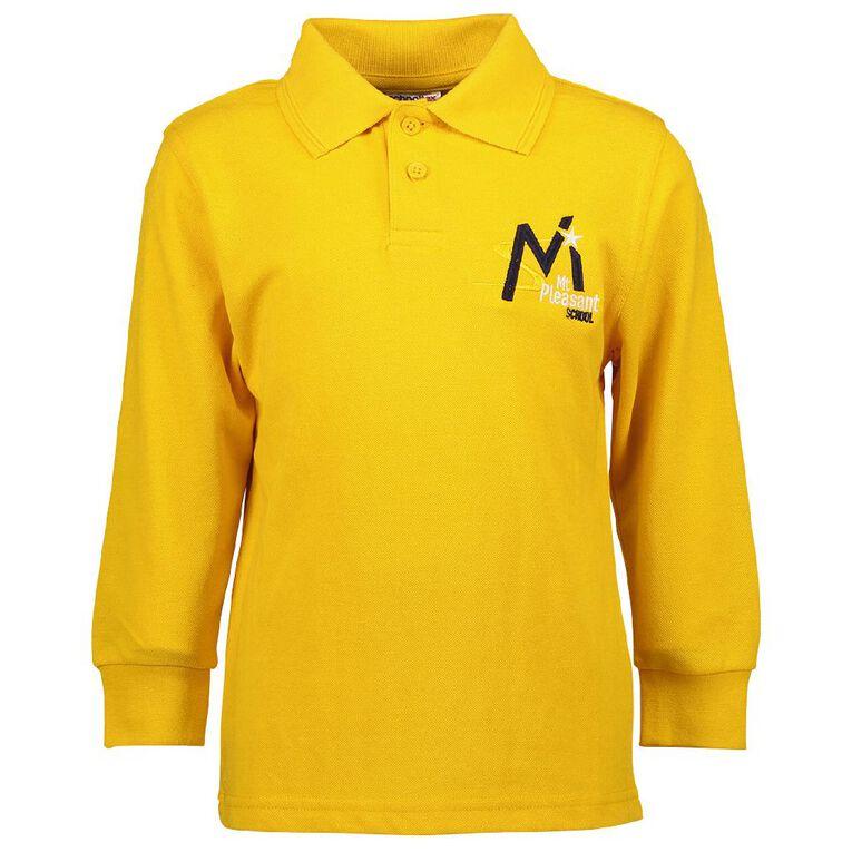 Schooltex Mt Pleasant's School Long Sleeve Polo, Gold, hi-res