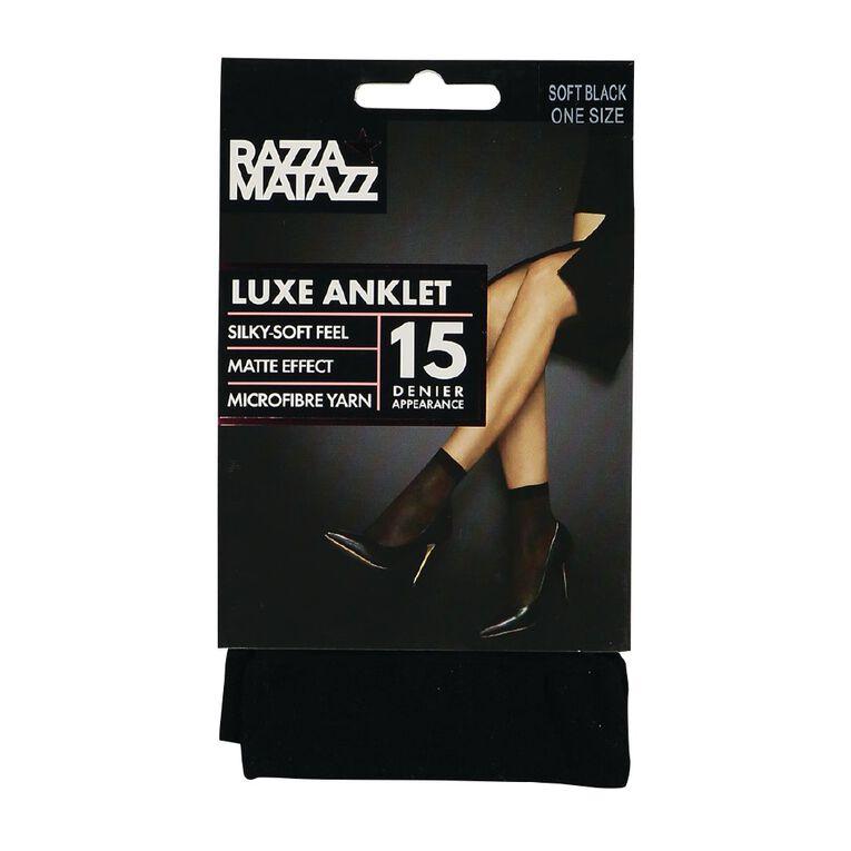 Razzamatazz Luxe Anklet Socks 1 Pack, Black Old Pack, hi-res