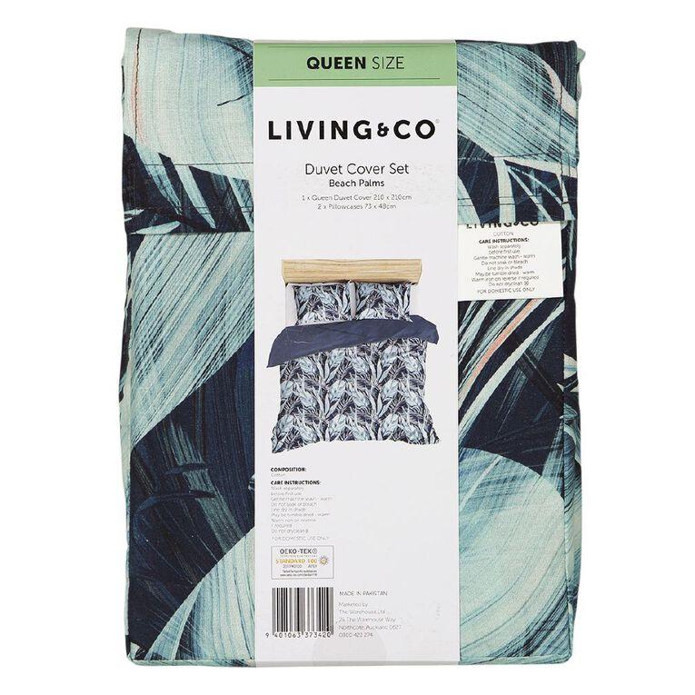 Living & Co Duvet Cover Set Cotton Beach Palms Blue King, Blue, hi-res