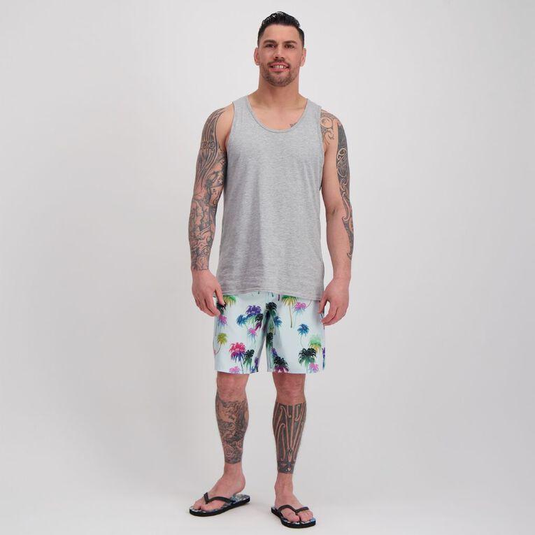 H&H Swim Men's 4 Way Stretch Boardshorts, Blue Light PALM, hi-res image number null