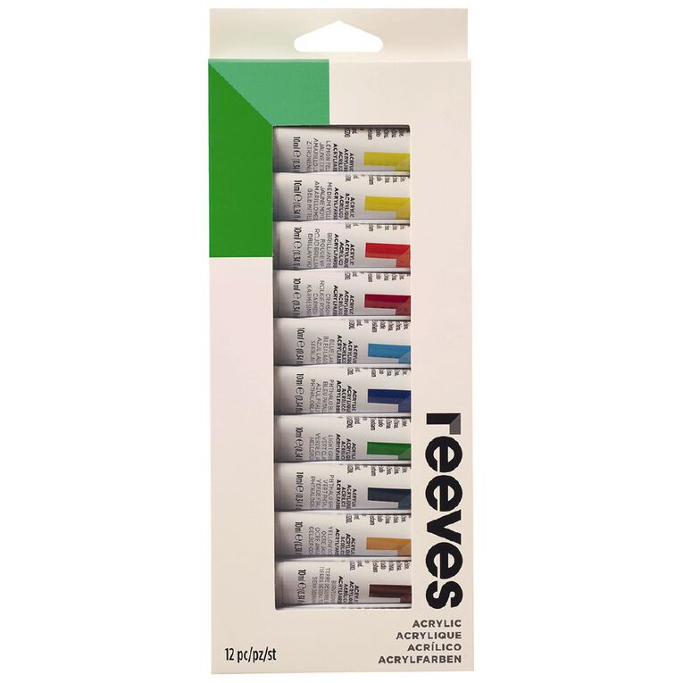 Reeves Acrylic Paint Set 10ml 12 Pack Multi-Coloured, , hi-res