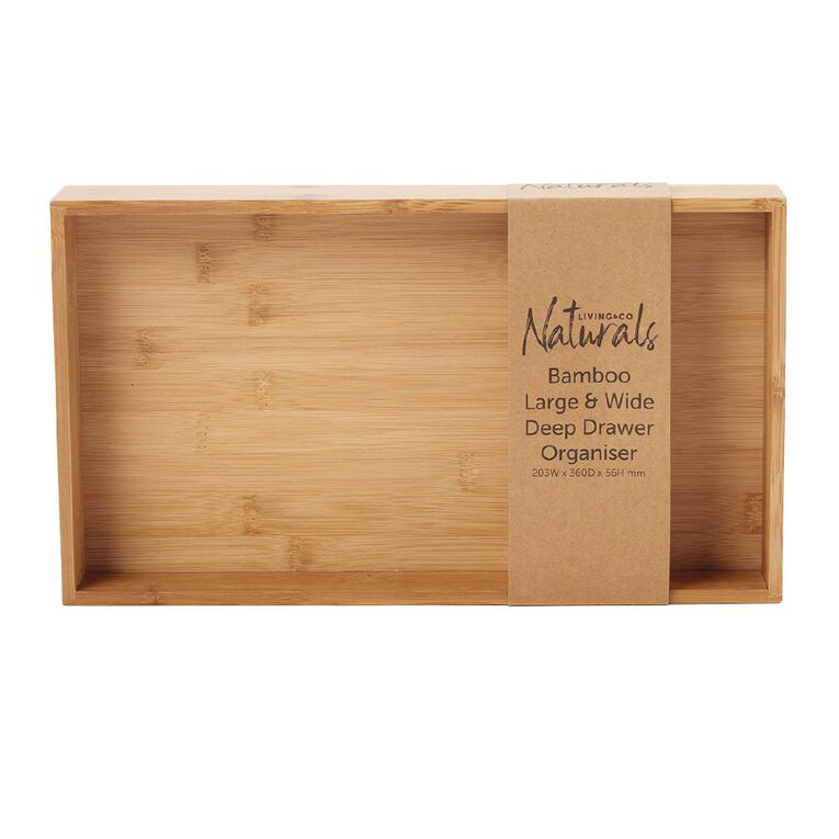 Living & Co Naturals Bamboo Large & Wide Deep Drawer Organiser, , hi-res