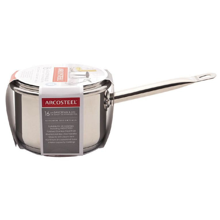 Arcosteel Chefs Choice Stainless Steel Saucepan Silver 16cm, , hi-res