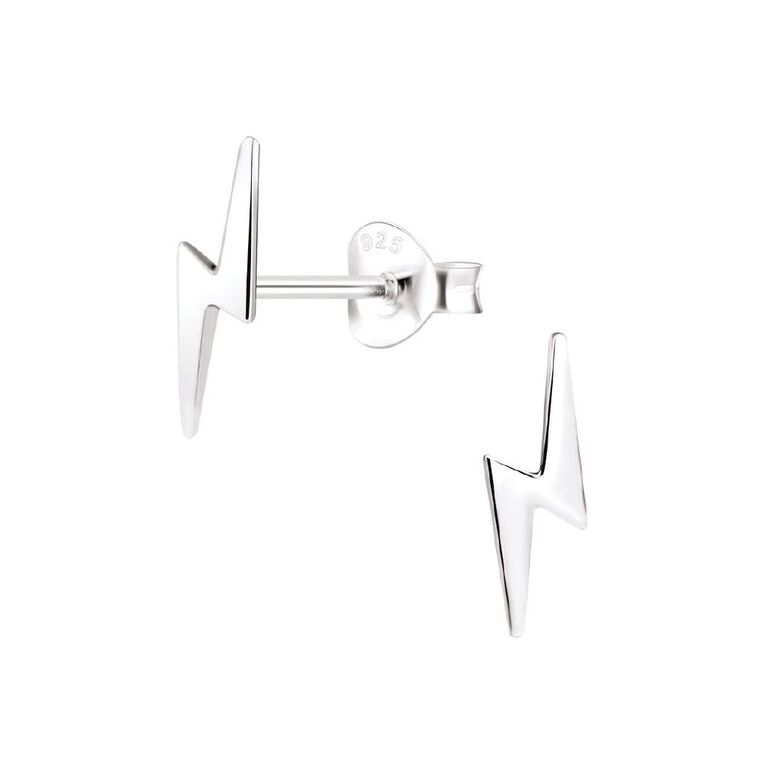 Sterling Silver Bolt Stud Earrings, , hi-res