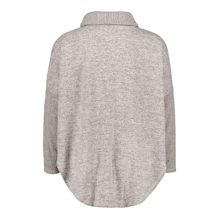 H&H Women's Plus Brushed Poncho, Grey Marle, hi-res