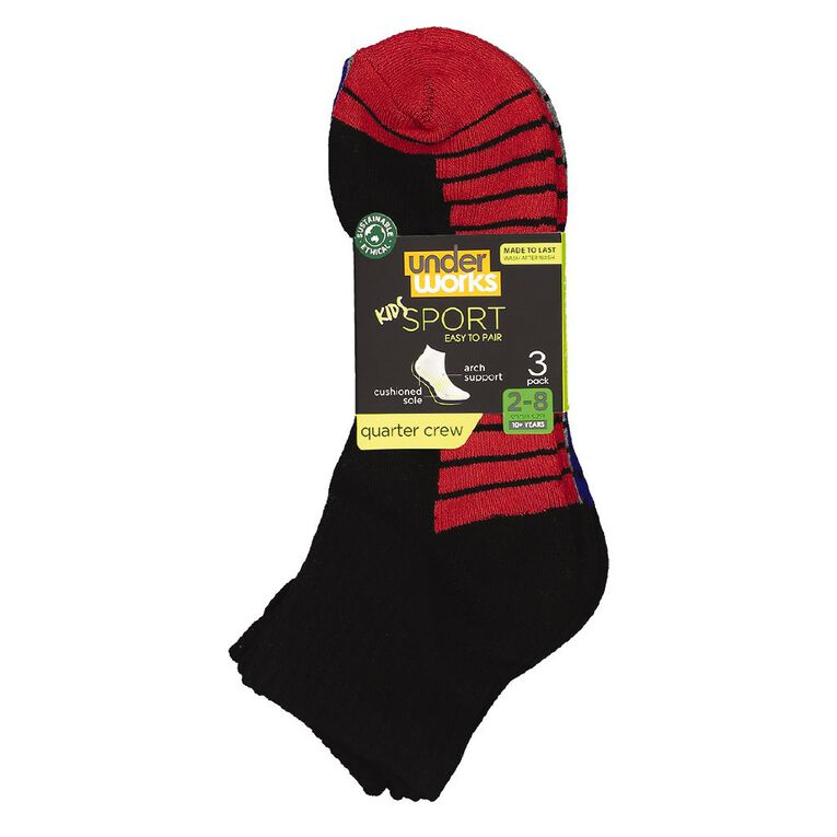 Underworks Kids' Quarter Crew Sport Socks 3 Pack, Black, hi-res