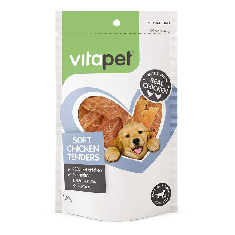 Vitapet Dog Treats Soft Chicken Tender 100g, , hi-res