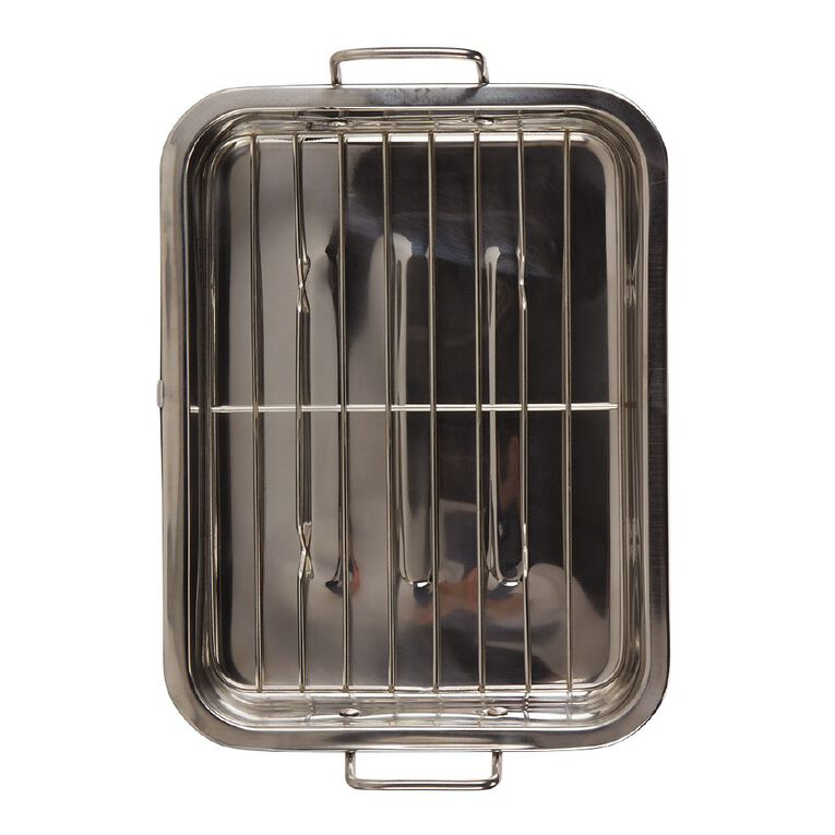 Living & Co Stainless Steel Roaster With Grill, , hi-res
