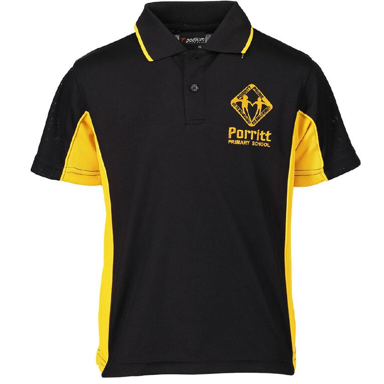 Schooltex Porritt Primary Short Sleeve Polo with Embroidery, Black/Gold, hi-res
