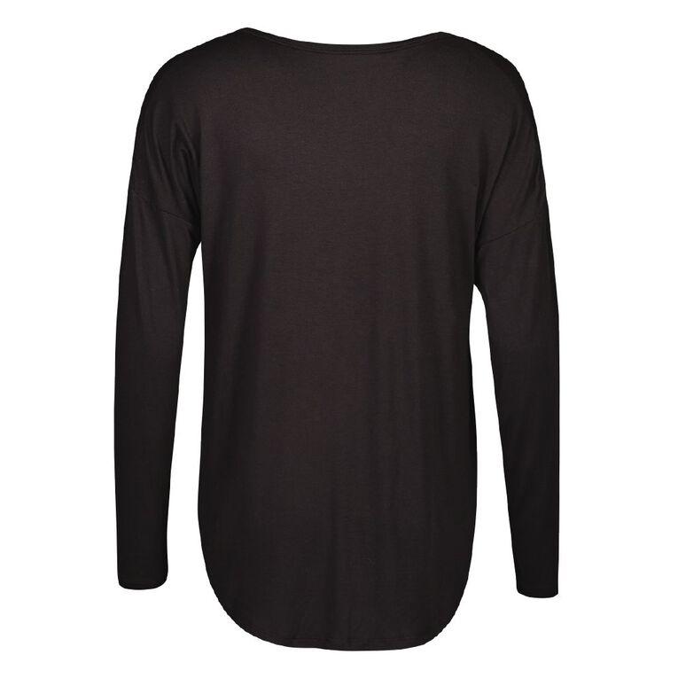 H&H Women's Long Sleeve Tee, Black, hi-res