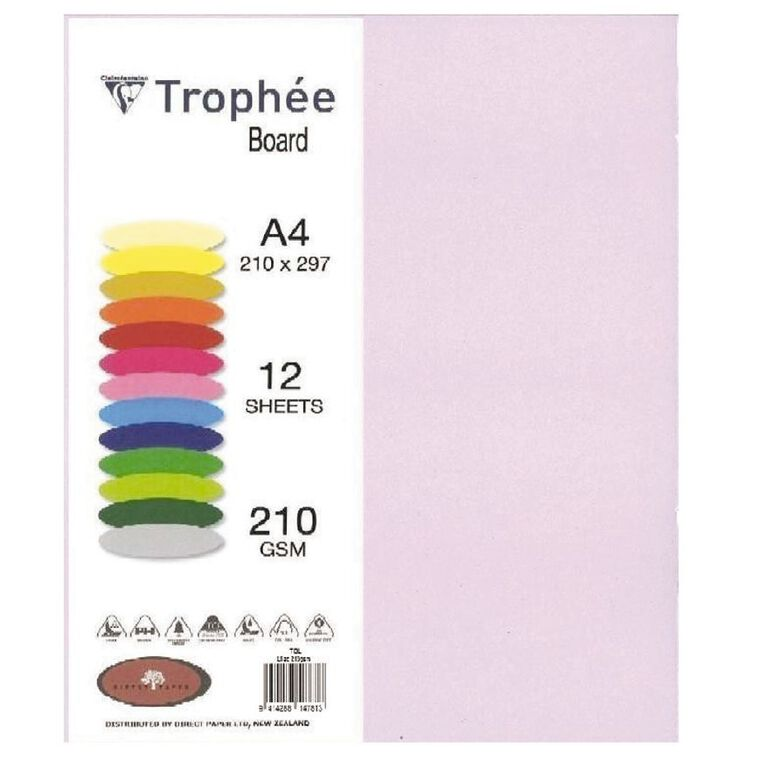 Trophee Board 210gsm 12 Pack Lilac Purple A4, , hi-res