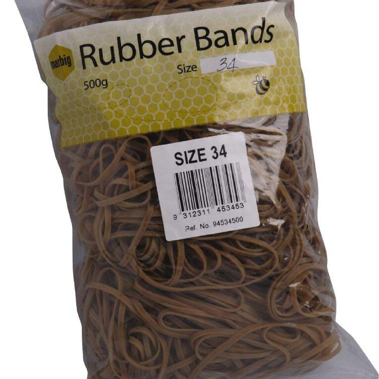 Marbig Rubber Bands 500g #34 Brown, , hi-res