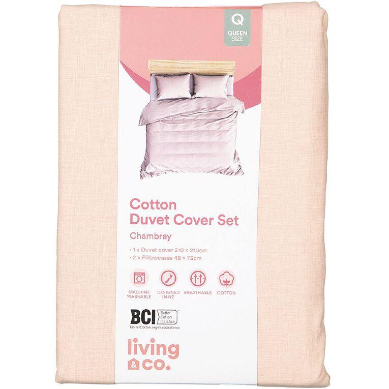 Living & Co Duvet Cover Set Chambray Slub Peach Whip Pink King, Pink, hi-res