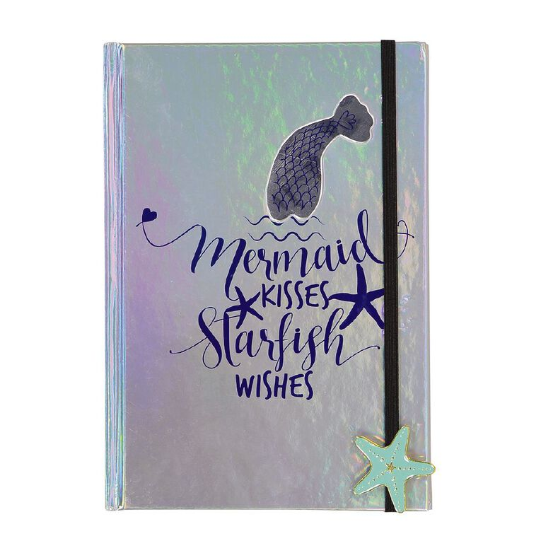Uniti Fun & Funky Q4 Hardcover Notebook Mermaid Holographic Silver A5, , hi-res