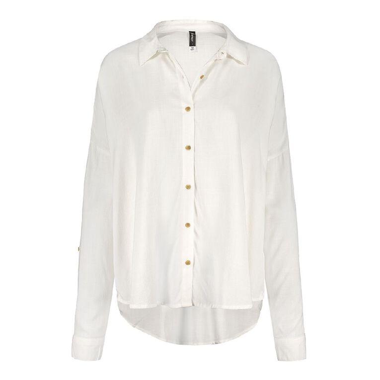 H&H Women's Long Sleeve Boyfriend Shirt, Cream, hi-res