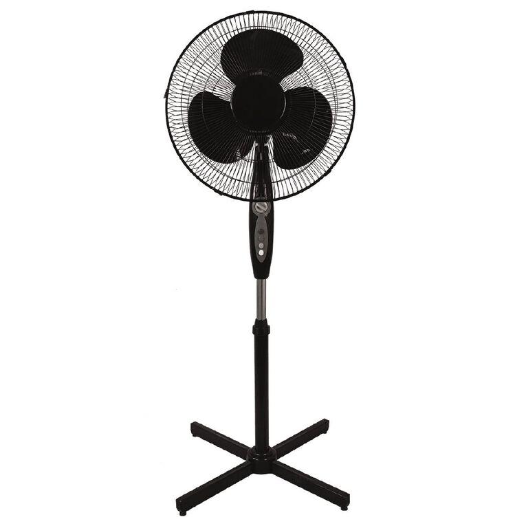 Living & Co Pedestal Fan with Timer 40cm Black, , hi-res