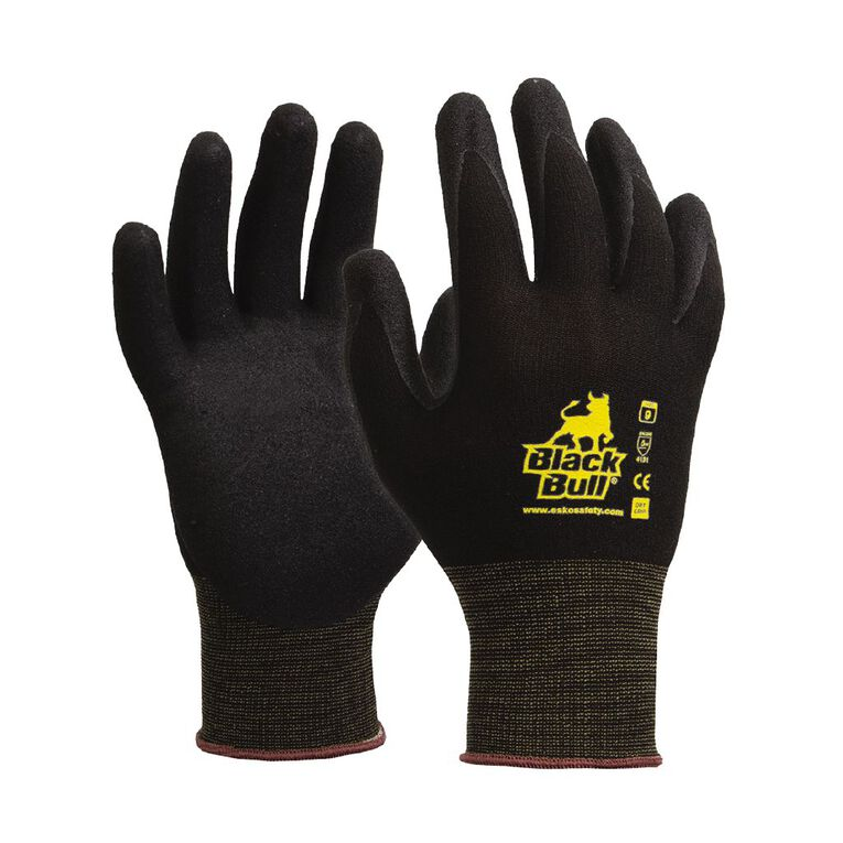 Esko Black Bull Sandy Nitrile Coated Tradesman Glove Black, , hi-res