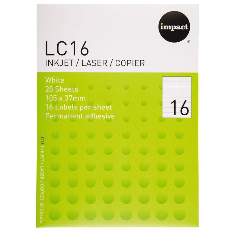 Impact Labels 20 Sheets A4/16 White, , hi-res