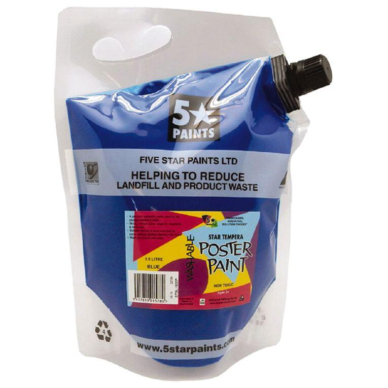 Fivestar Tempera Poster Paint Blue 1.5 litre Pouch, , hi-res