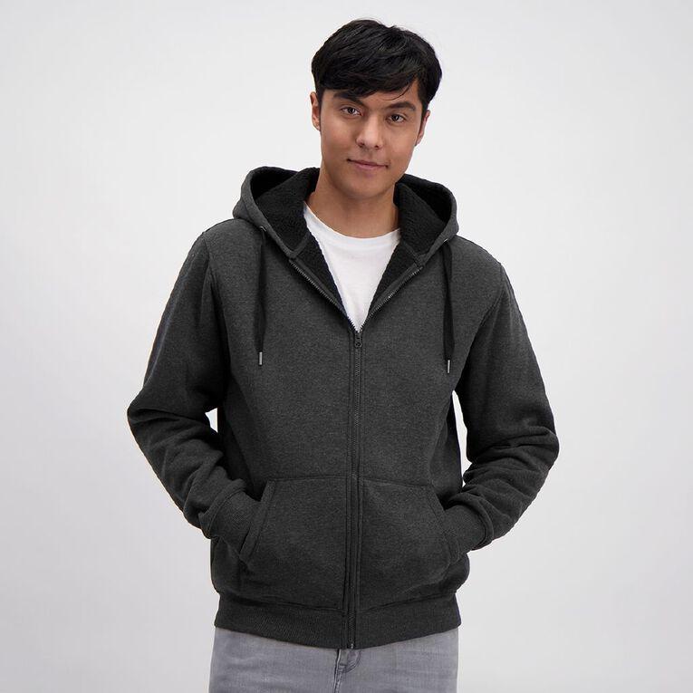 H&H Men's Sherpa Lined Zip-Thru Hooded Sweat, Black, hi-res