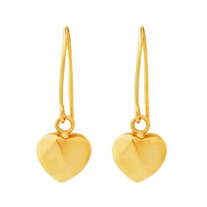 9ct Gold Puffed Heart Drop Earrings