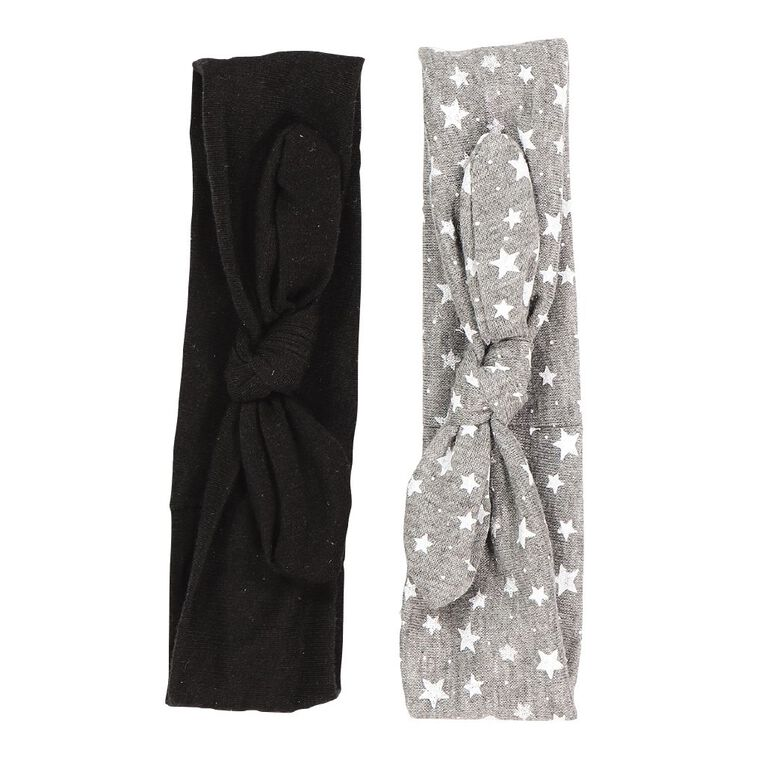 Colour Co. Fabric Hair Bands Black 2 Pack, , hi-res