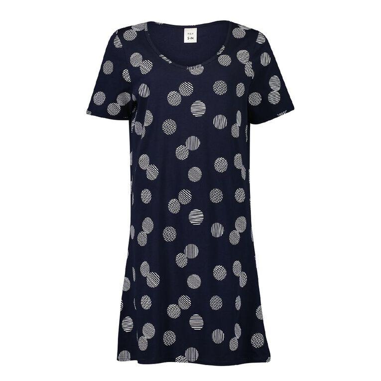 H&H Women's Short Sleeve Nightie, Navy, hi-res